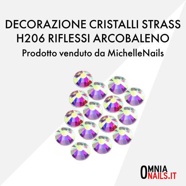 Decorazione cristalli strass H206 riflessi arcobaleno